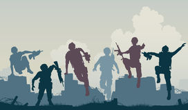 Soldiers advance. Editable vector silhouettes of armed soldiers charging forward Stock Image