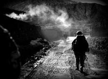 Soldiers in Afghanistan. Czech soldiers during a mission in Azra district, Logar province, Afghanistan Stock Photography