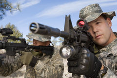 Soldiers Aiming Machine Guns Royalty Free Stock Photos