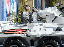 The soldiers on the Arctic version of the BTR-82A at the dress rehearsal of the parade dedicated to the Victory Day. Stock Photo