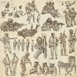 Soldiers, Army - An hand drawn collection. Warriors on old paper Royalty Free Stock Image