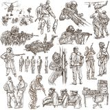 Soldiers, Army - An hand drawn collection. Warriors on white, is Stock Photography