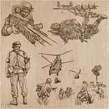 Soldiers, Army - An hand drawn vector collection. Warriors aroun Stock Photo