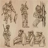 Soldiers, Army - An hand drawn vector collection. Warriors aroun Stock Photography