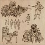 Soldiers, Army - An hand drawn vector collection. Warriors aroun. An hand drawn VECTOR collection of SOLDIERS in different situations. Private, Brothers in Arms Royalty Free Stock Photography