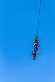 Soldiers Attached Rope Flying Helicopter Military Stock Photography
