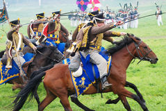 Soldiers attack at Borodino battle historical reenactment in Russia Stock Image