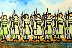 Soldiers at attention. Royalty Free Stock Image