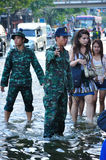 SOLDIERS IN BANGKOK, THAILAND - NOVEMBER 04. BANGKOK, THAILAND - NOVEMBER 04 : Heavy flooding from monsoon rain in Ayutthaya and north Thailand arriving in Royalty Free Stock Photography
