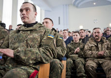 Soldiers of battalion Chernihiv Stock Images