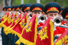 Soldiers blew trumpets Royalty Free Stock Images