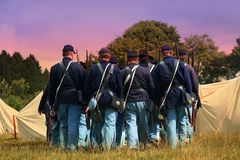 Soldiers Blue. Trudging back to camp as the Sun sets, part of my American Civil War series stock photography