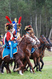 Soldiers in blue and red uniform at Borodino Stock Photography
