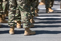 Soldiers in boots. Tbilisi. Georgia. stock photos