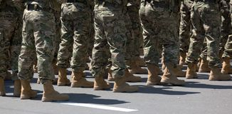 Soldiers in boots. Tbilisi. Georgia. Royalty Free Stock Photography