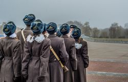 Soldiers in Brest Belarus royalty free stock photography