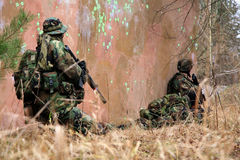Soldiers in camouflage - action