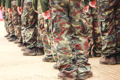 Soldiers in camouflage military uniform Royalty Free Stock Images