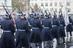 Soldiers of Castle guard  are marching on military parade. Soldiers of Castle guard Army are marching on military parade  in Prague, Czech Republic stock image