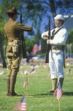 Soldiers in Cemetery, Memorial Day, Los Angeles, California Stock Photos