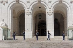 Soldiers Changing Guard at Portuguese Parliament Royalty Free Stock Photography