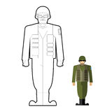 Soldiers coloring book. Military clothing: helmet and body armor Royalty Free Stock Images