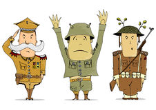 Soldiers. Comics soldiers of the First World War. Vector illustration Stock Images
