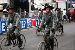 Soldiers cyclists Stock Photography