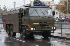 Soldiers of Czech Army are riding decontamination vehicle  on military parade. In Prague, Czech Republic stock photos