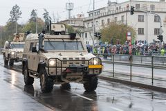 Soldiers of Czech Army are riding light multirole vehicle  on military parade in Prague, Czech Republic. Soldiers of Czech Army are riding light multirole stock photography