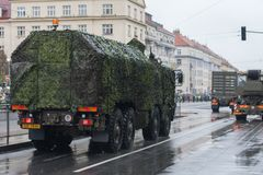 Soldiers of Czech Army are riding mobile workshop on military parade. European street, Prague-October 28, 2018: Soldiers of Czech Army are riding mobile workshop royalty free stock photography