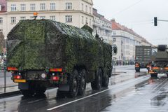 Soldiers of Czech Army are riding mobile workshop on military parade. In Prague, Czech Republic royalty free stock photo