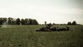 Soldiers defending, world war 2 reconstruction. Soviet army, battlefield. Stock footage stock video