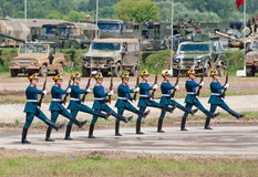 Soldiers demonstrate ceremonial movements Royalty Free Stock Photography