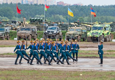 Soldiers demonstrate ceremonial movements Stock Images