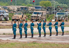 Soldiers demonstrate ceremonial movements Stock Image
