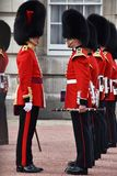 Soldiers at changing of the guard time at Buckingham Palace Stock Photo