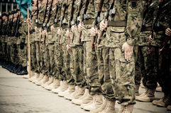 Soldiers during the drill Stock Photography
