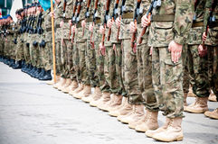 Soldiers during the drill Royalty Free Stock Image