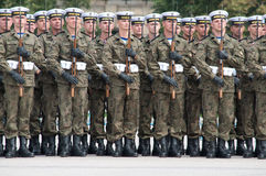 Soldiers during the drill on the square Royalty Free Stock Image