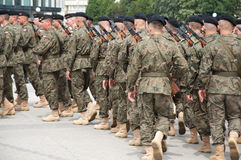 Soldiers during the drill on the square Stock Photo