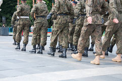 Soldiers during the drill on the square Royalty Free Stock Photography