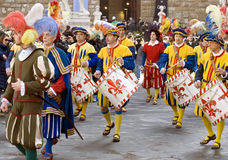 Soldiers drumming.historical music band.florence Royalty Free Stock Photos