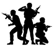 Soldiers fighting together. Editable vector silhouettes of three soldiers fighting as a team with figures as separate objects Royalty Free Stock Images