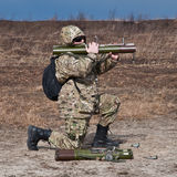 Soldiers fired a grenade launcher Stock Photos