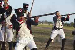 Soldiers firing muskets Royalty Free Stock Images