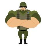 Soldiers in flak vest. Military helmet.  Royalty Free Stock Image