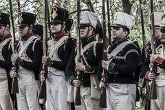Platoon of french napoleonic soldiers Royalty Free Stock Images