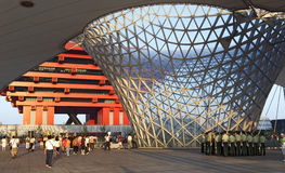 Soldiers in front of the China Pavilion. Chinese soldiers gather under the elevated walkway in front of the China 2010 World Expo pavilion in Shanghai Royalty Free Stock Images