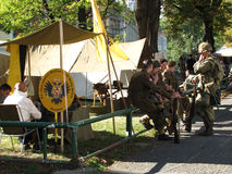 Soldiers in front of tent Royalty Free Stock Photo